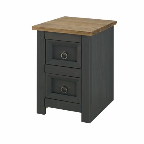 Corona Carbon 2 Drawer Petite Bedside Cabinet